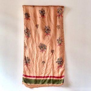 Vintage Peach Silk Scarf with Flower Bouquets